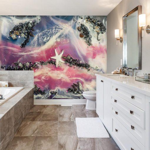fototapeta do łazienki żywica abstrakcja geode art różówo niebieska
