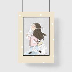 Plakat dziecięcy ze spacerującą dziewczynką