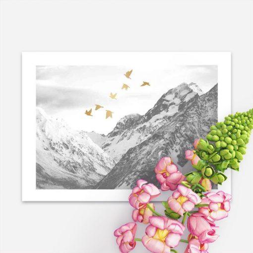 Plakat z krajobrazem gór na przedpokój