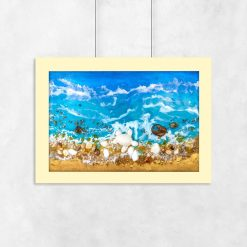 Plakat resin sea z błękitnymi falami