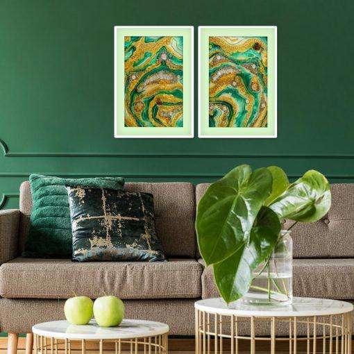 Plakat dyptyk z motywem zielonej abstrakcji