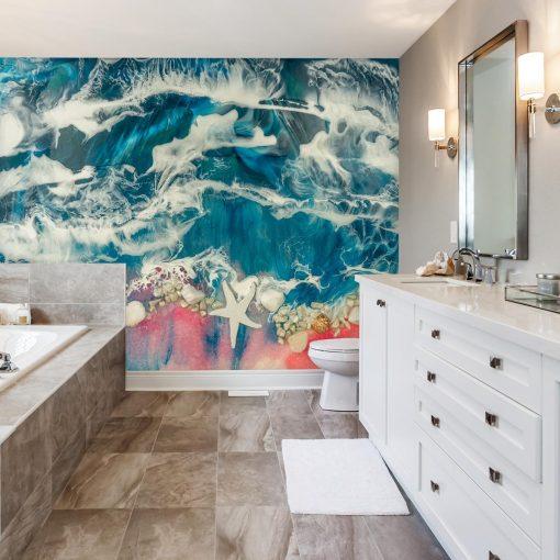 dekoracja do łazienki fototapeta geode style różowo niebiesko białe morze