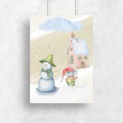 Plakat dziecięcy z zimowym motywem