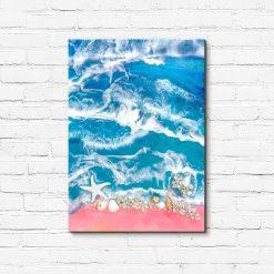obraz morze z muszlami i kamieniami z żywicy