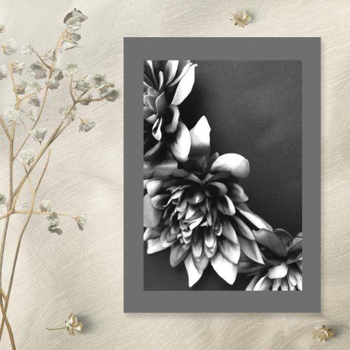 Plakat - Kwiaty czarno-białe na przedpokój