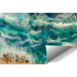 fototapeta resin sea turkusowo złota z kamieniami