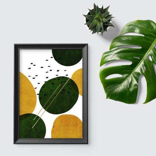 plakat przedstawiający zielono-żółte koła