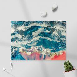 obraz resin sea kolorowe morze z kamieniami i muszlami