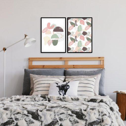 Plakat dyptyk z abstrakcyjnym wzorem do sypialni