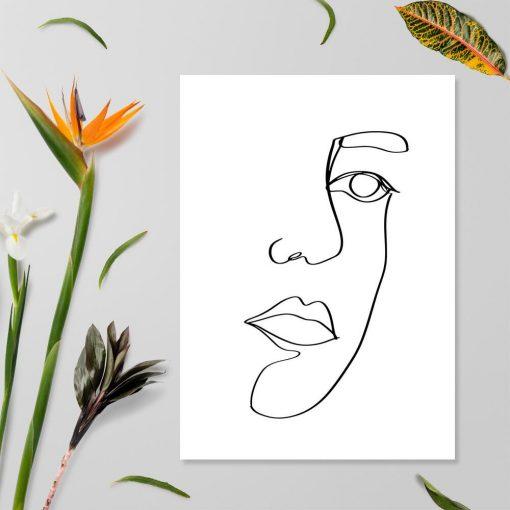 Plakat z ustami w stylu line art na prezent