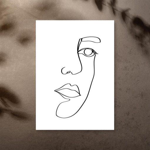 Plakat z ustami w stylu line art do pokoju