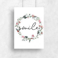 Plakat z napisem - Smile do salonu