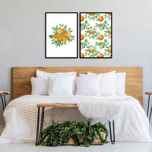 Plakat dyptyk z pomarańczami do sypialni