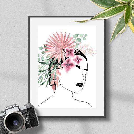 Plakat do biura - Kwiaty we włosach
