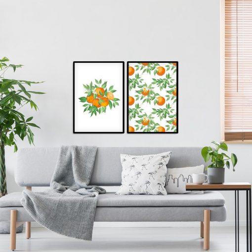 Plakat dyptyk z pomarańczami do salonu