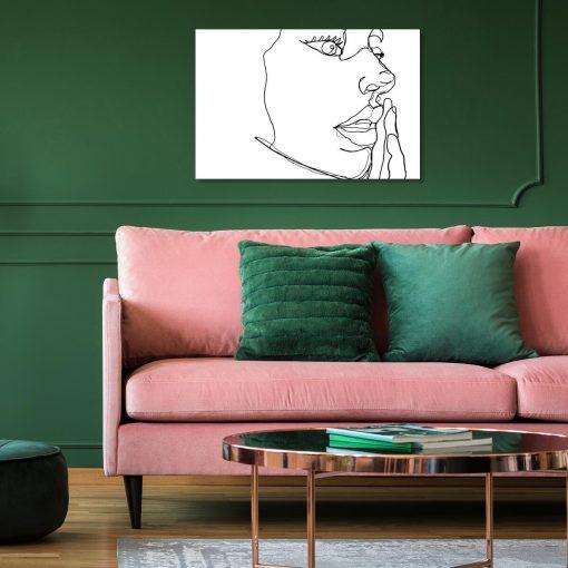 Obraz line art z twarzą do salonu