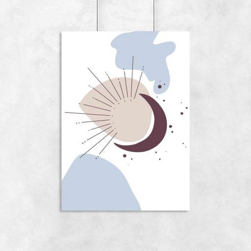 Plakat z abstrakcją z księżycem do salonu
