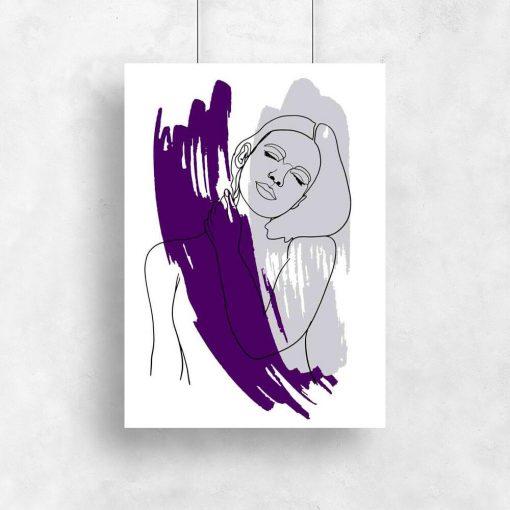 Plakat z rozmarzoną kobietą