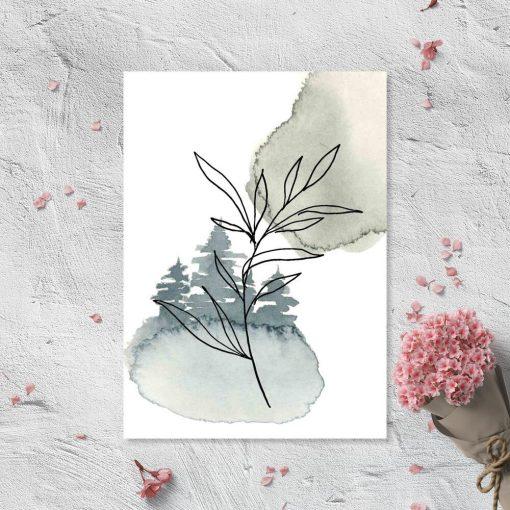 Plakat - Gałązka z liśćmi do biura
