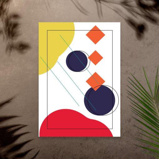 Energetyczna kolorystyka geometrycznych figur na plakacie