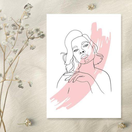 Plakat line art przedstawiający kobietę