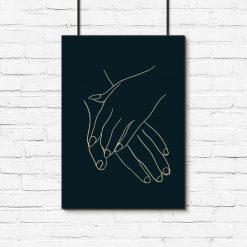 Plakat ze splecionymi dłońmi do salonu