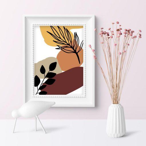 Nowoczesny plakat z liśćmi do sypialni