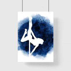 Plakat z tancerką pole dance - Niebieskie tło