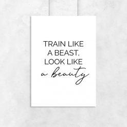 Plakat typograficzny - Train like a beast