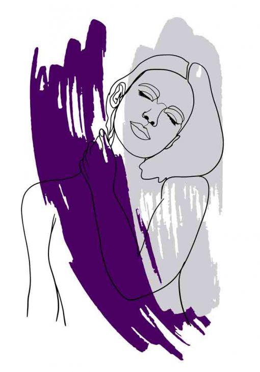 Plakat - Kobieta z dłonią na szyi
