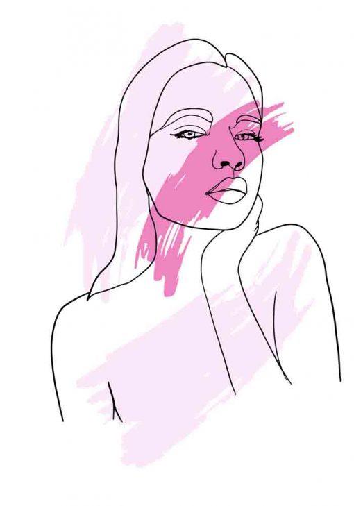Plakat z grafiką liniową - Kobieta