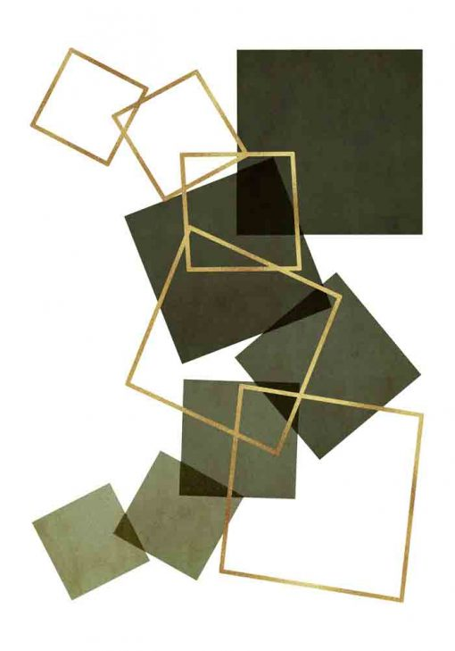 Plakat z rozsypanymi kwadratami