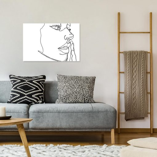 Obraz line art z twarzą na ścianę do salonu