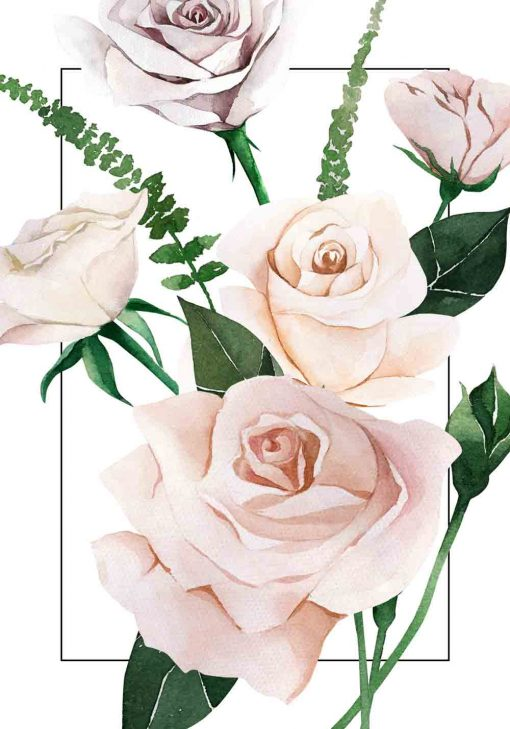 plakat do sypialni z roślinnością i różą