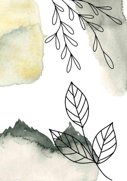 Plakat z liśćmi w stylu line art