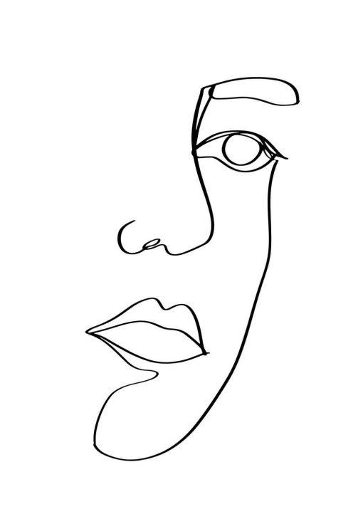 Plakat z ustami w stylu line art