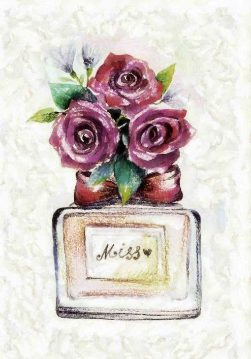 Plakat z butelką perfum dla Miss
