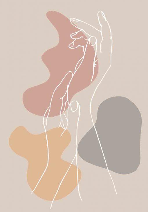 Plakat z abstrakcją i dłońmi