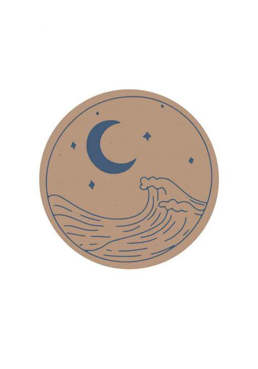Plakat z falami morskimi