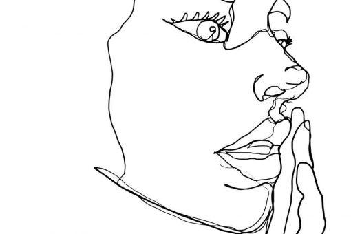 Obraz line art z twarzą