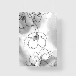 Plakat - Kwiaty w stylu line art do salonu