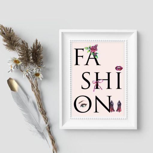 Pastelowa dekoracja do ramy z napisem fashion