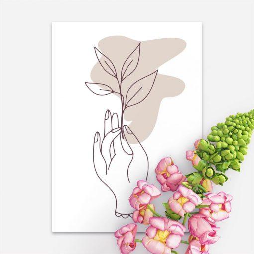 Plakat na prezent - Dłoń trzymająca gałązkę