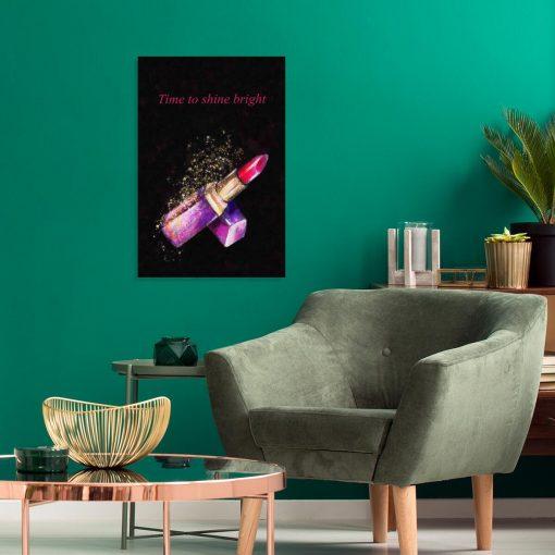 Obraz z różową pomadką i dewizą w j. angielskim