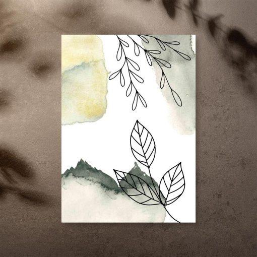 Plakat z liśćmi w stylu line art do sypialni
