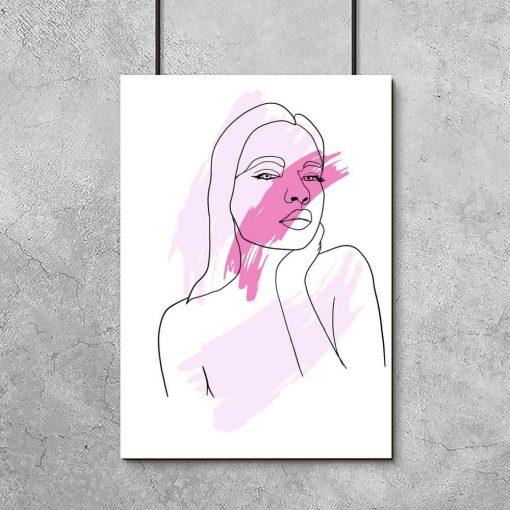 Plakat - Kobieta malowana linią