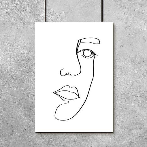 Plakat z ustami w stylu line art do salonu