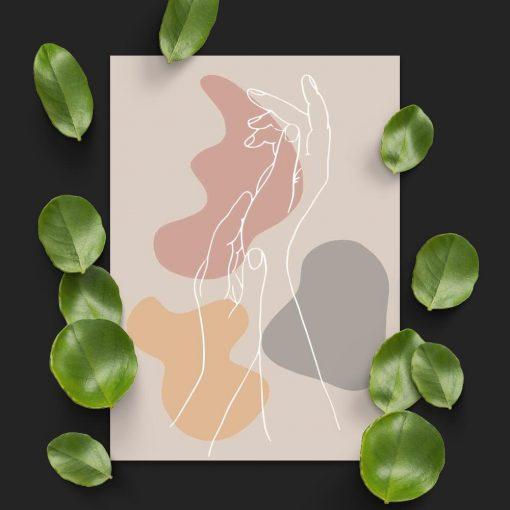 Plakat z abstrakcją i dłońmi do salonu