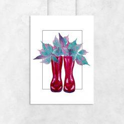 Plakat czerwone kalosze i liście