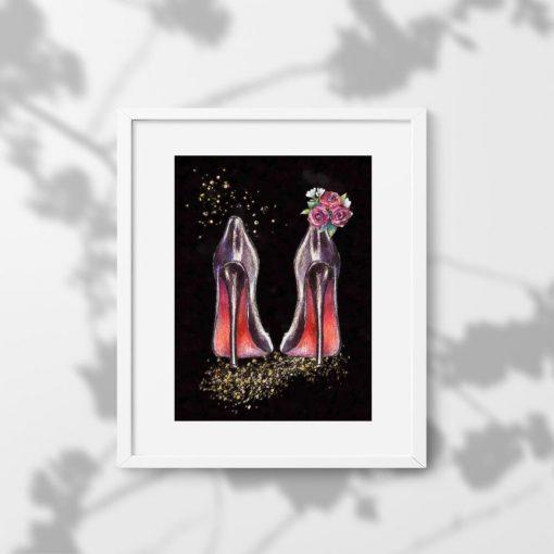 Plakat z motywem szpilek i kwiatów